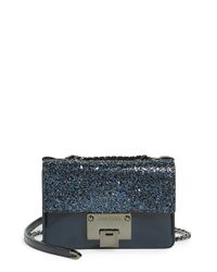 Jimmy Choo - Blue 'mini Rebel' Glitter & Leather Crossbody Bag - Lyst