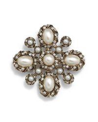 Cara - Metallic Faux Pearl & Crystal Pin - Lyst