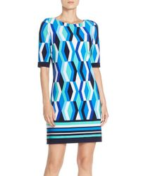 Eliza J Blue Print Jersey Shift Dress