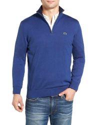 Lacoste Blue Quarter Zip Sweater for men