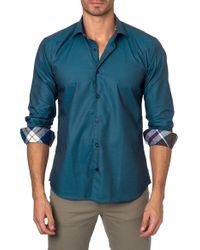 Jared Lang | Green Trim Fit Solid Sport Shirt for Men | Lyst