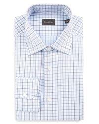 Ermenegildo Zegna - Blue Regular Fit Check Dress Shirt for Men - Lyst