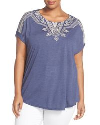 Bobeau - Blue Embroidered Short Sleeve Top - Lyst