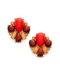 kate spade new york | Red Burst Into Bloom Gold-tone Stone Cluster Stud Earrings | Lyst