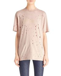Givenchy | Natural Logo Print Destroyed Stretch Jersey Tee | Lyst