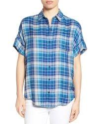 Lucky Brand | Blue Plaid Flannel Short Sleeve Shirt | Lyst