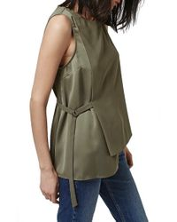TOPSHOP - Green Sleeveless Side Tie Tunic - Lyst