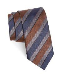 Canali | Brown Stripe Silk Tie for Men | Lyst