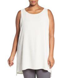 Eileen Fisher - White Silk Crepe Sleeveless Tunic - Lyst