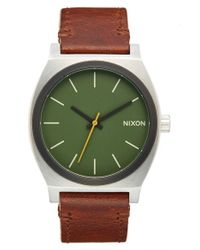 Nixon | Green 'the Time Teller' Leather Strap Watch for Men | Lyst