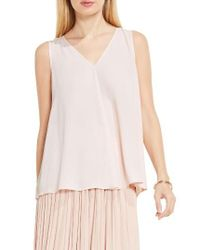 Vince Camuto | Multicolor Drape Front V-neck Sleeveless Blouse | Lyst