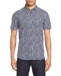 Ted Baker - Blue 'thorshor' Modern Slim Fit Print Short Sleeve Sport Shirt for Men - Lyst