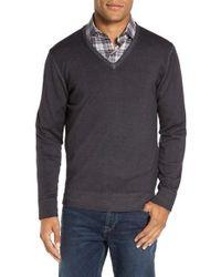 Morgano | Gray V-neck Merino Wool Sweater for Men | Lyst
