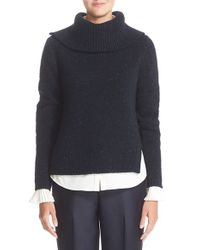 Nordstrom Collection | Blue Split Wool & Cashmere Sweater | Lyst