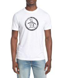 Original Penguin   White Distressed Logo T-shirt for Men   Lyst
