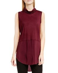 Two By Vince Camuto | Red Sleeveless Mixed Media Cowl Neck Tunic | Lyst