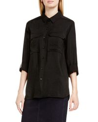 Two By Vince Camuto | Black Hammered Satin Utility Shirt | Lyst