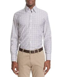 Canali | Purple Trim Fit Check Sport Shirt for Men | Lyst