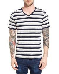 The Rail | Blue Stripe V-neck T-shirt for Men | Lyst