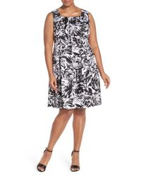 Ellen Tracy | White Print Stretch Cotton Fit & Flare Dress | Lyst