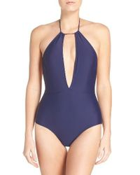 Ted Baker | Blue Halter One-piece Swimsuit | Lyst