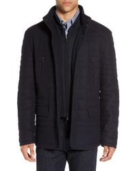 Corneliani Blue Quilted Wool Blend Coat With Bib for men