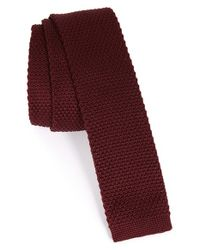 Topman | Red Burgundy Knitted Tie for Men | Lyst