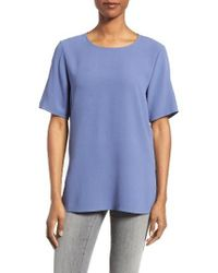 Eileen Fisher Blue Silk Crepe Round Neck Boxy Top