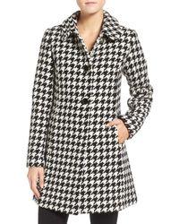 kate spade new york Black Houndstooth Wool-Blend Coat