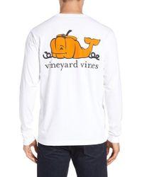 Vineyard Vines - White 'pumpkin Whale' Graphic Pocket Long Sleeve T-shirt for Men - Lyst