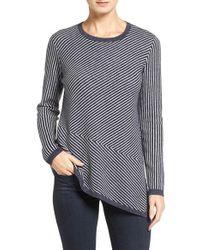 Nordstrom Collection | Blue Stripe Cashmere Asymmetrical Hem Pullover | Lyst