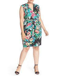 Ellen Tracy   Multicolor Print Jersey Faux Wrap Dress   Lyst