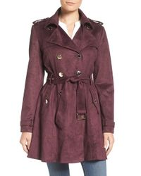 Jessica Simpson | Purple Faux Suede Belted Trench | Lyst