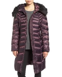 Tahari | Purple Emma Quilted Down & Feather Coat With Faux Fur Trim | Lyst