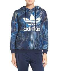 Adidas Originals - Blue 'bg' Logo Terry Hoodie - Lyst