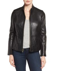Via Spiga   Black Lambskin Leather Scuba Jacket   Lyst