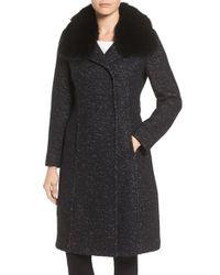 Elie Tahari   Black Genuine Raccoon Fur Collar Coat   Lyst