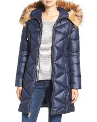 Guess | Blue Quilted Puffer Coat With Faux Fur Trim | Lyst