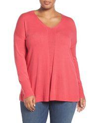 Sejour - Pink V-neck Sweater - Lyst