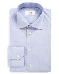 Eton of Sweden   Blue Super Slim Fit Micro Houndstooth Shirt for Men   Lyst