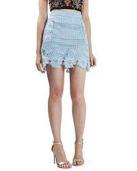 TOPSHOP Blue Cutwork Flower Lace Miniskirt