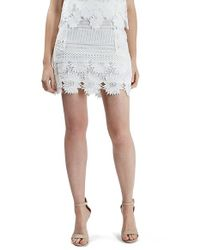 TOPSHOP White Cutwork Flower Lace Miniskirt