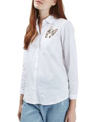 TOPSHOP White 'alexa' Cat Embroidered Pocket Shirt