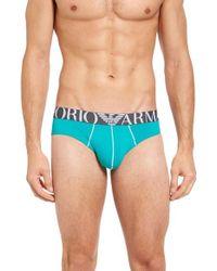 Emporio Armani | Blue Trend Stretch Microfiber Briefs for Men | Lyst