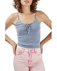 TOPSHOP - Blue Lace-up Ribbed Camisole - Lyst
