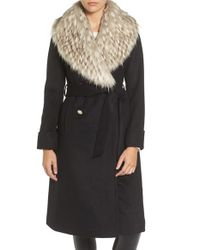 Eliza J | Black Faux Fur Collar Belted Wool Blend Long Coat | Lyst