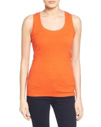 Caslon - Orange Caslon Ribbed Racerback Tank - Lyst