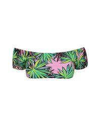 TOPSHOP Green Kendall + Kylie At Palm Print Bardot Bikini Top