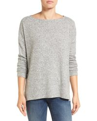 Gibson | Gray Cozy Fleece Ballet Neck High/low Pullover | Lyst