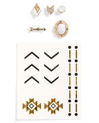 TOPSHOP Multicolor Mismatched Stud Earrings & Temporary Tattoos